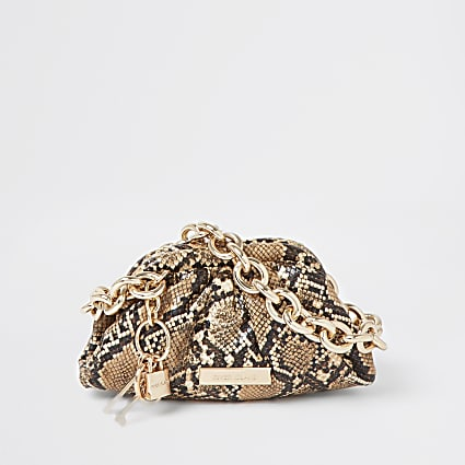 Beige snake print chunky chain ruched bag