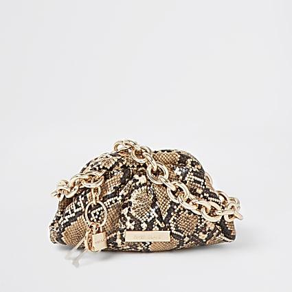 Beige snake print chunky chain ruched handbag