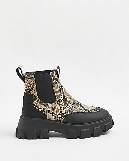 Beige snake print chunky chelsea boots
