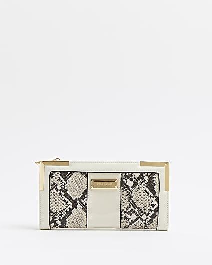 Beige snake print purse