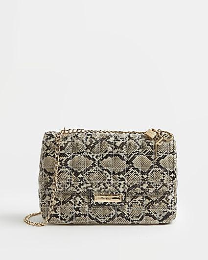 Beige snake print quilted shoulder bag