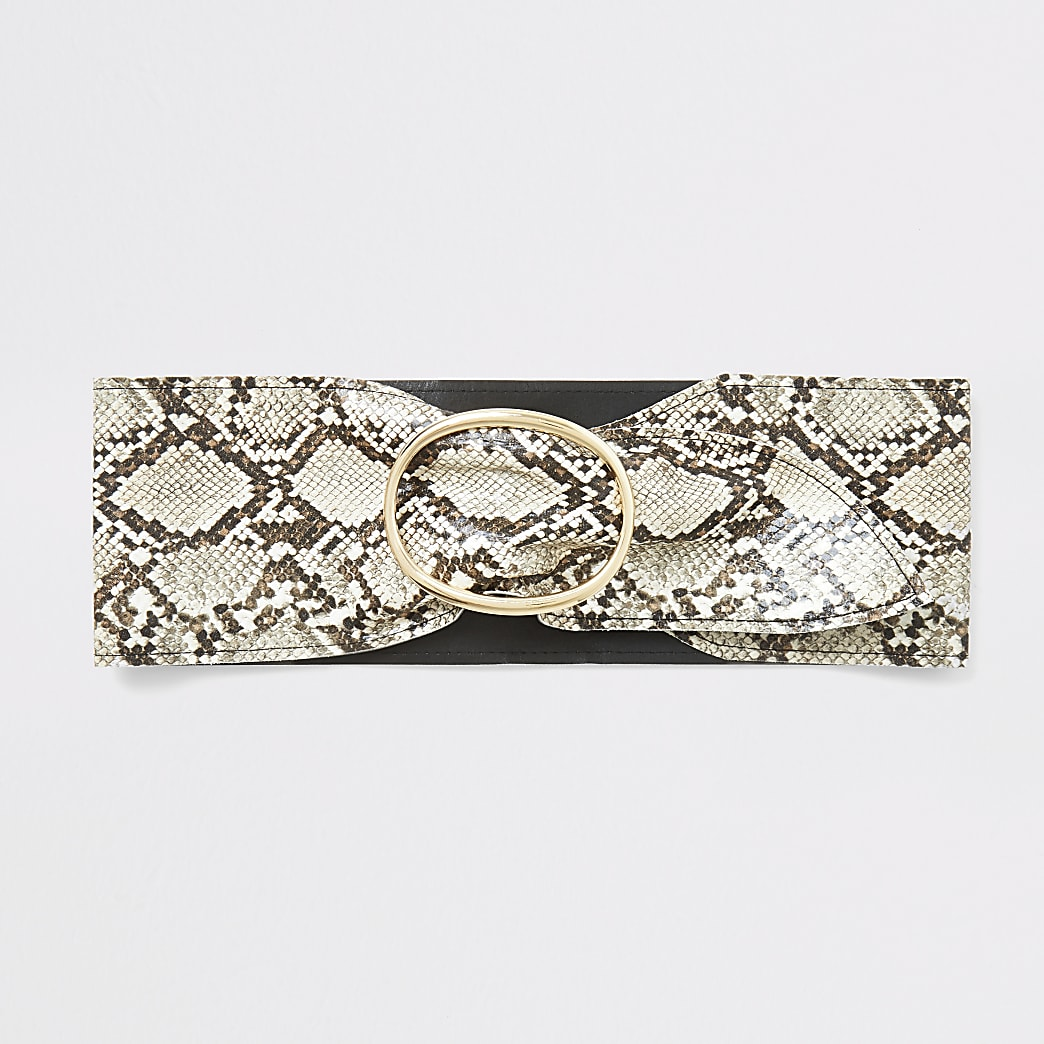 Beige snake print sash waist belt