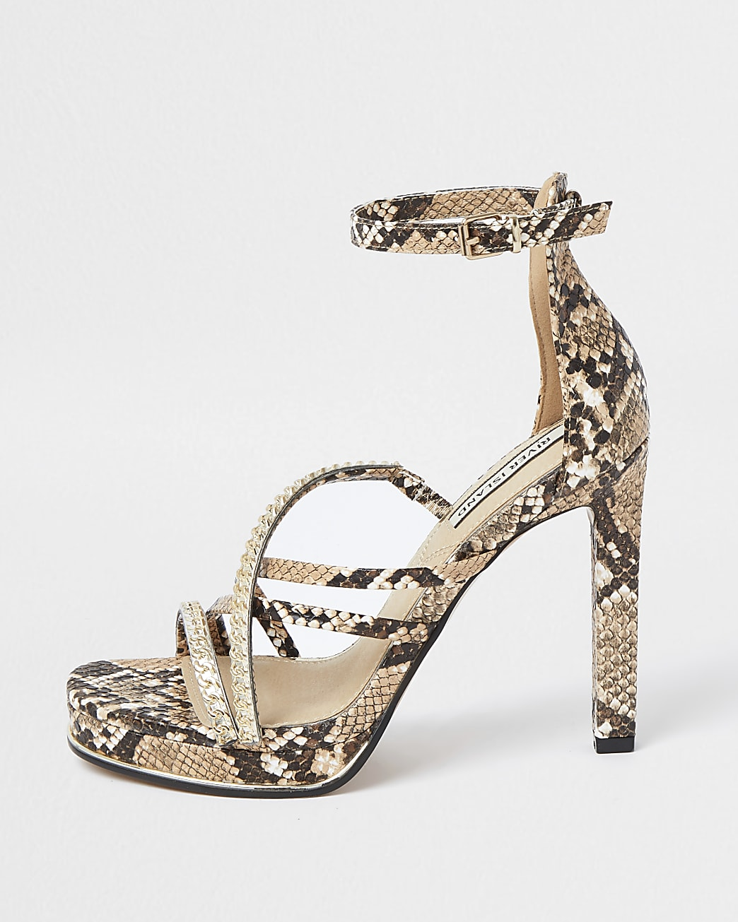 Beige snake print strappy platform heels