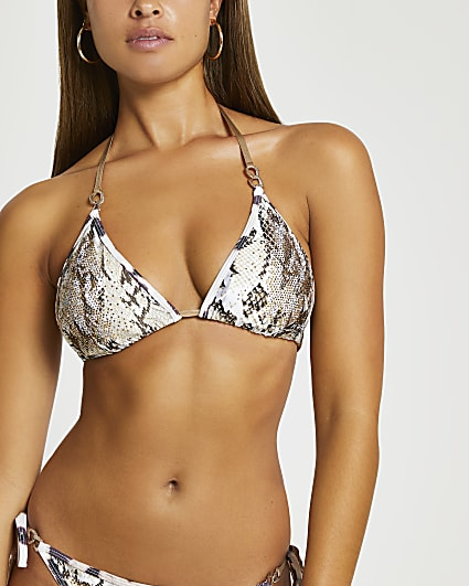 Beige snake print triangle bikini top