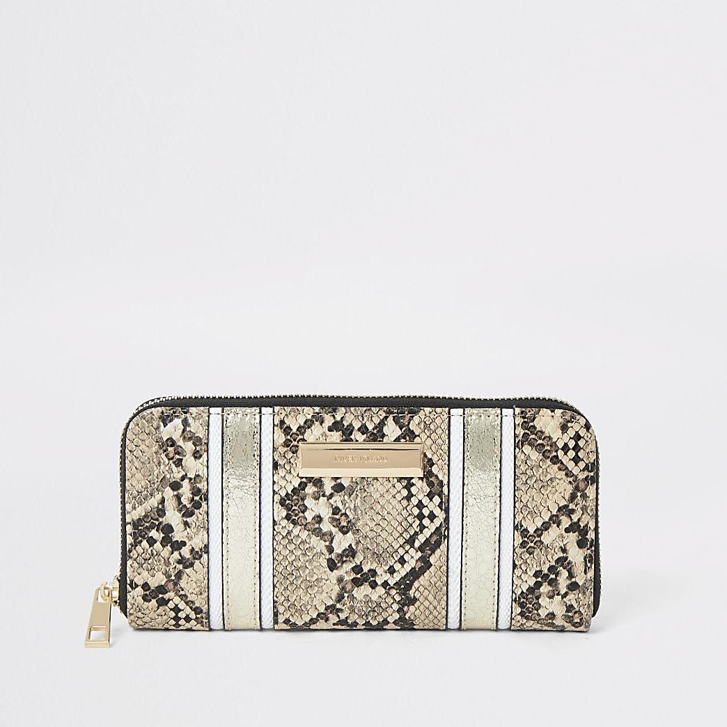 Beige snake print zip around purse