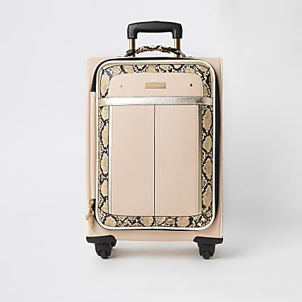 Beige snake printed four wheel suitcase