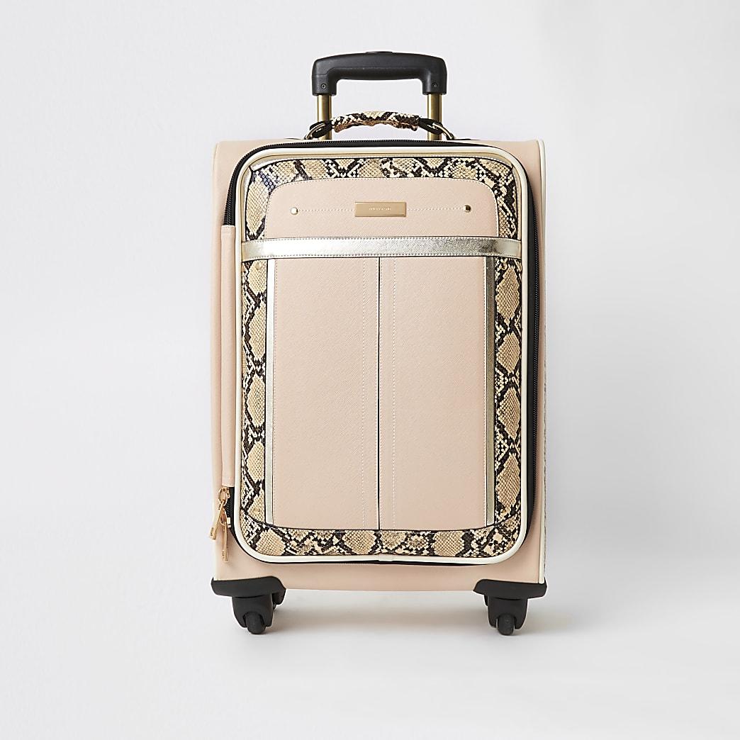 Beigefarbener Koffer mit vier Rollen in Schlangenlederoptik