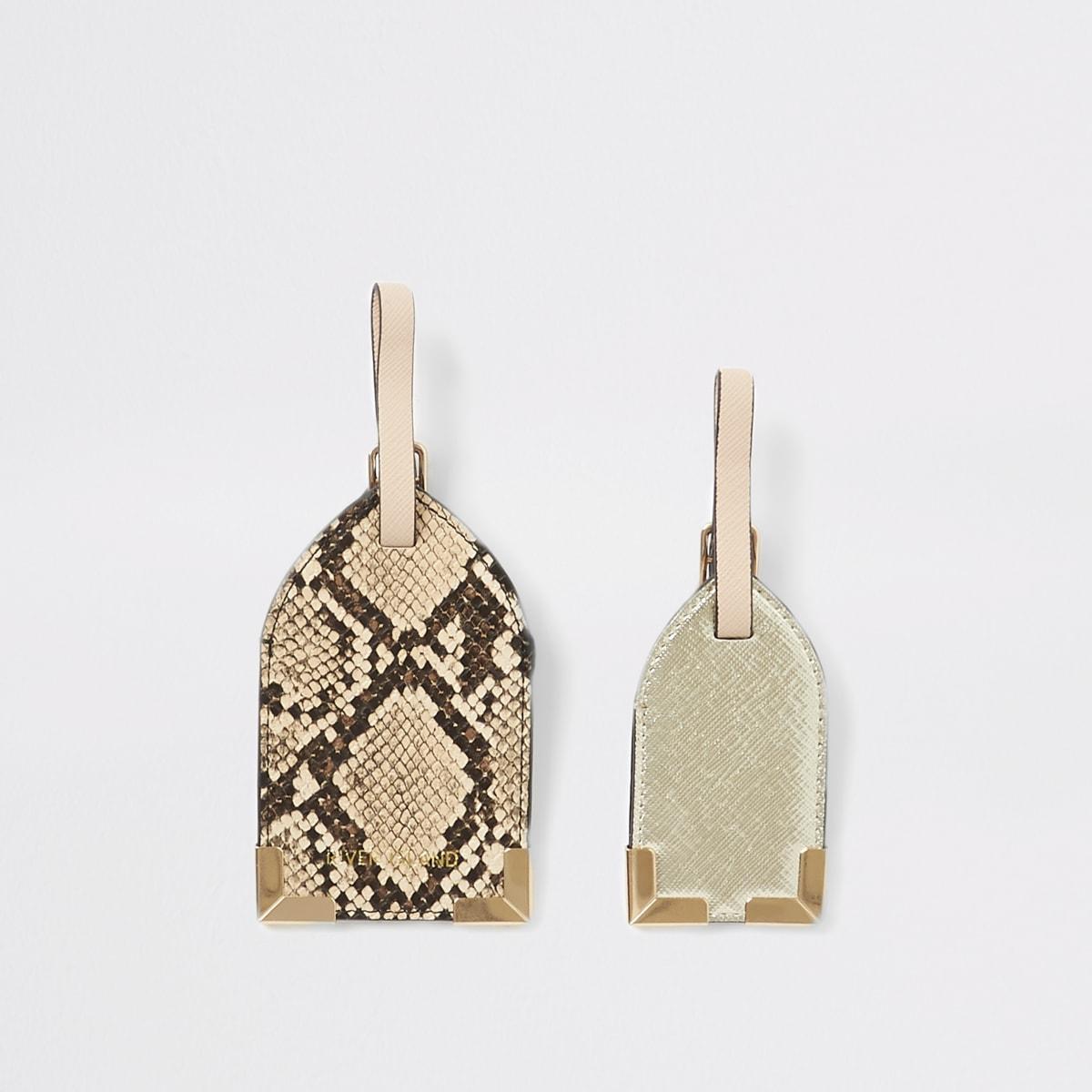 Beigefarbenes Gepäckanhängerset in Schlangenlederoptik