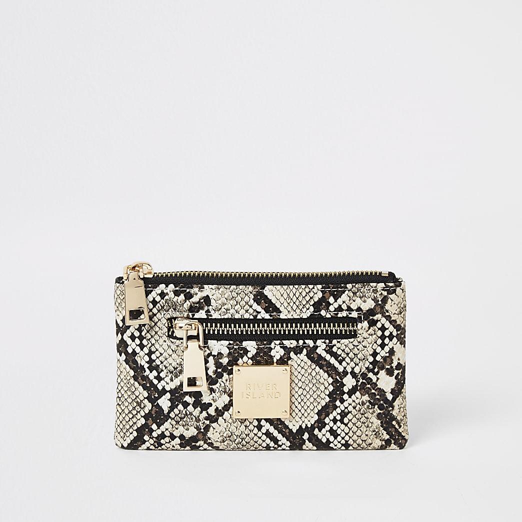 Beige snake printed mini zip pouch