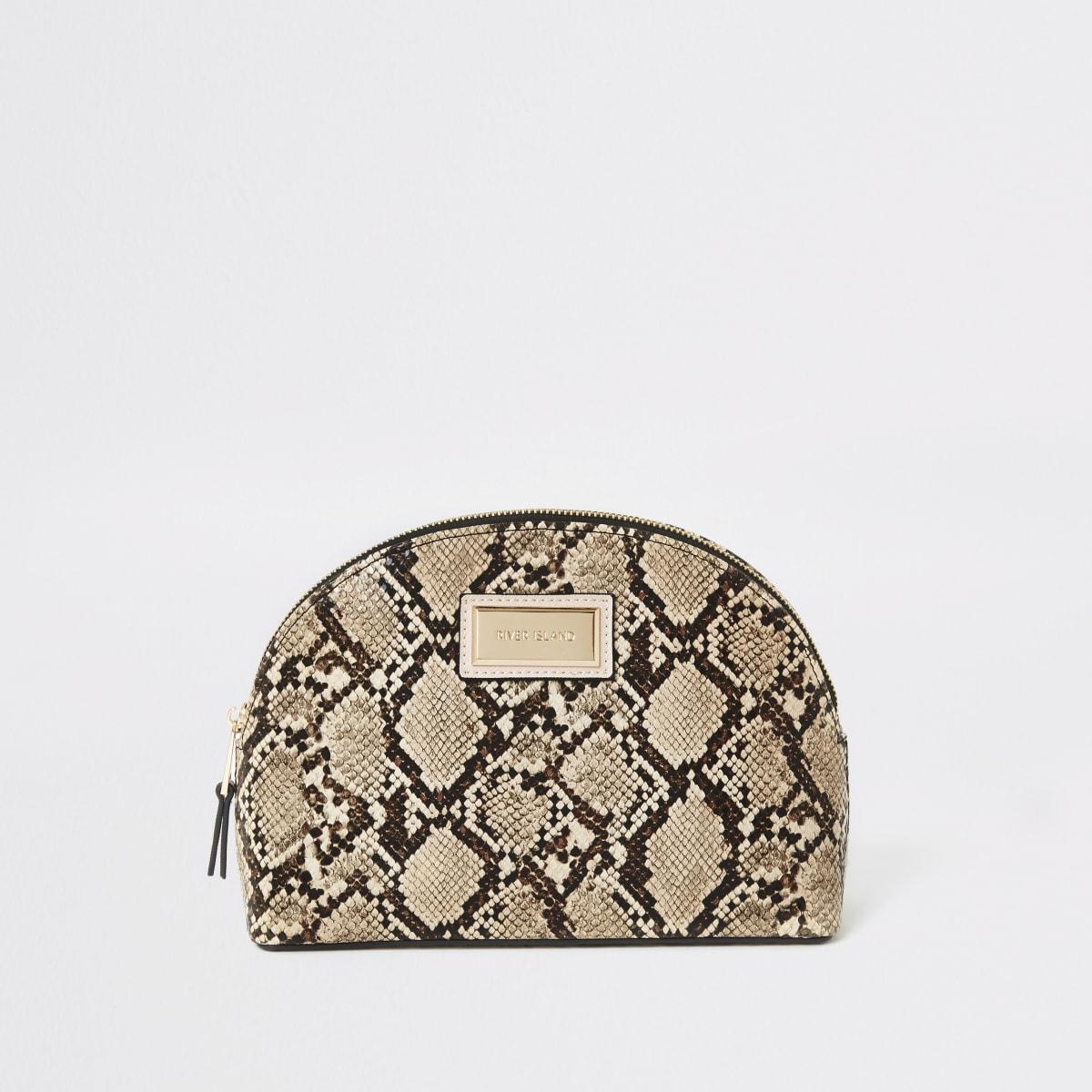 Beige snake printed zip top makeup bag