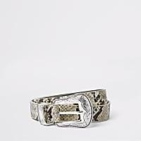 Beige snakeskin print buckle belt