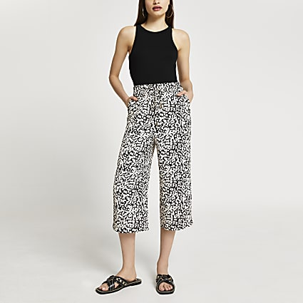 Beige spot print wide leg crop trousers