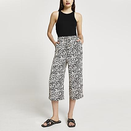 Beige spot print wide leg crop trousers