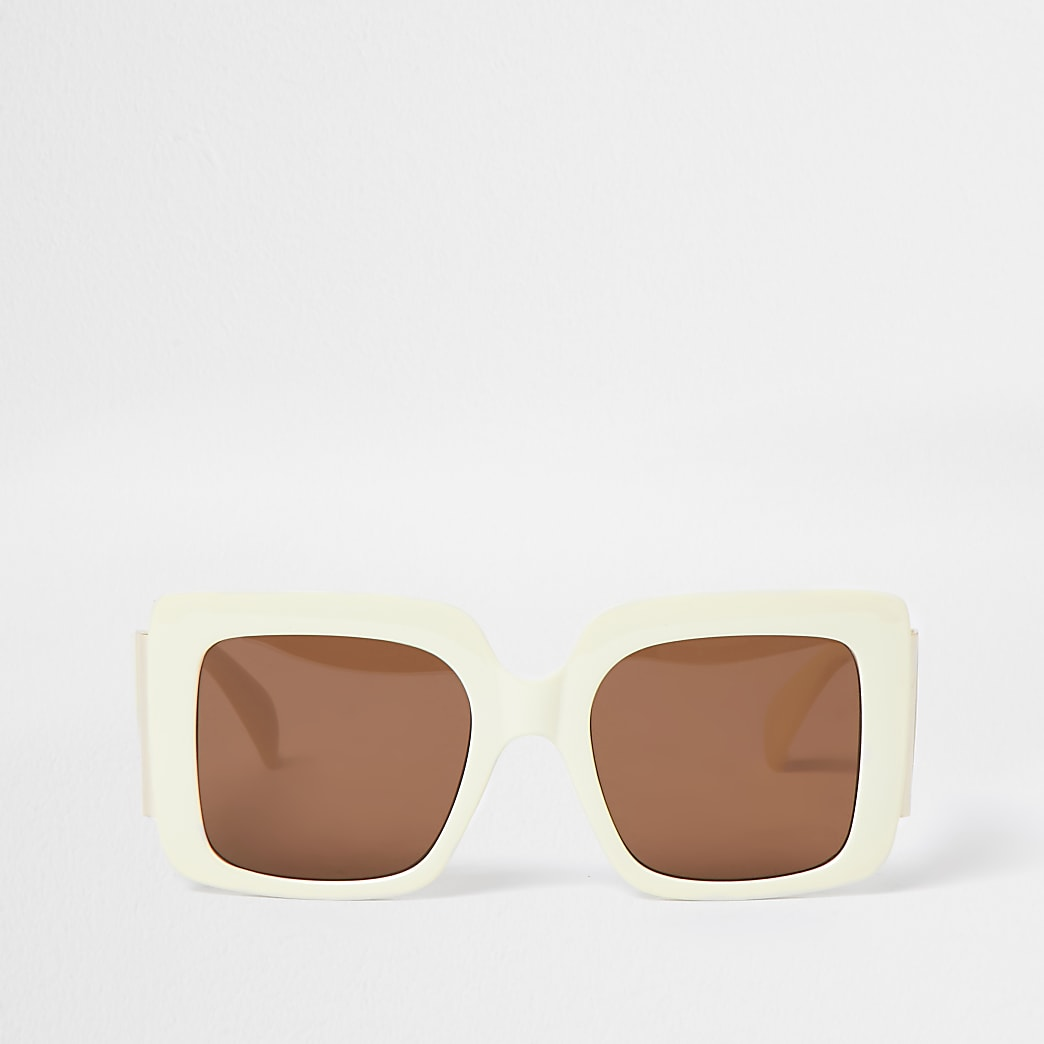 Beige square glam sunglasses