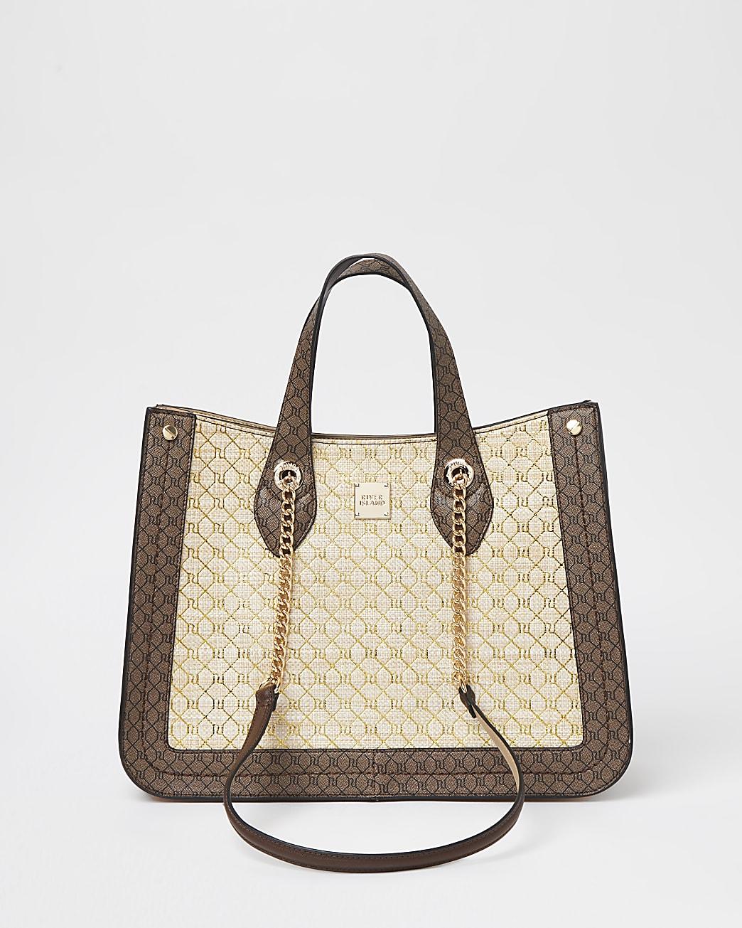 Beige square monogram chain shopper bag