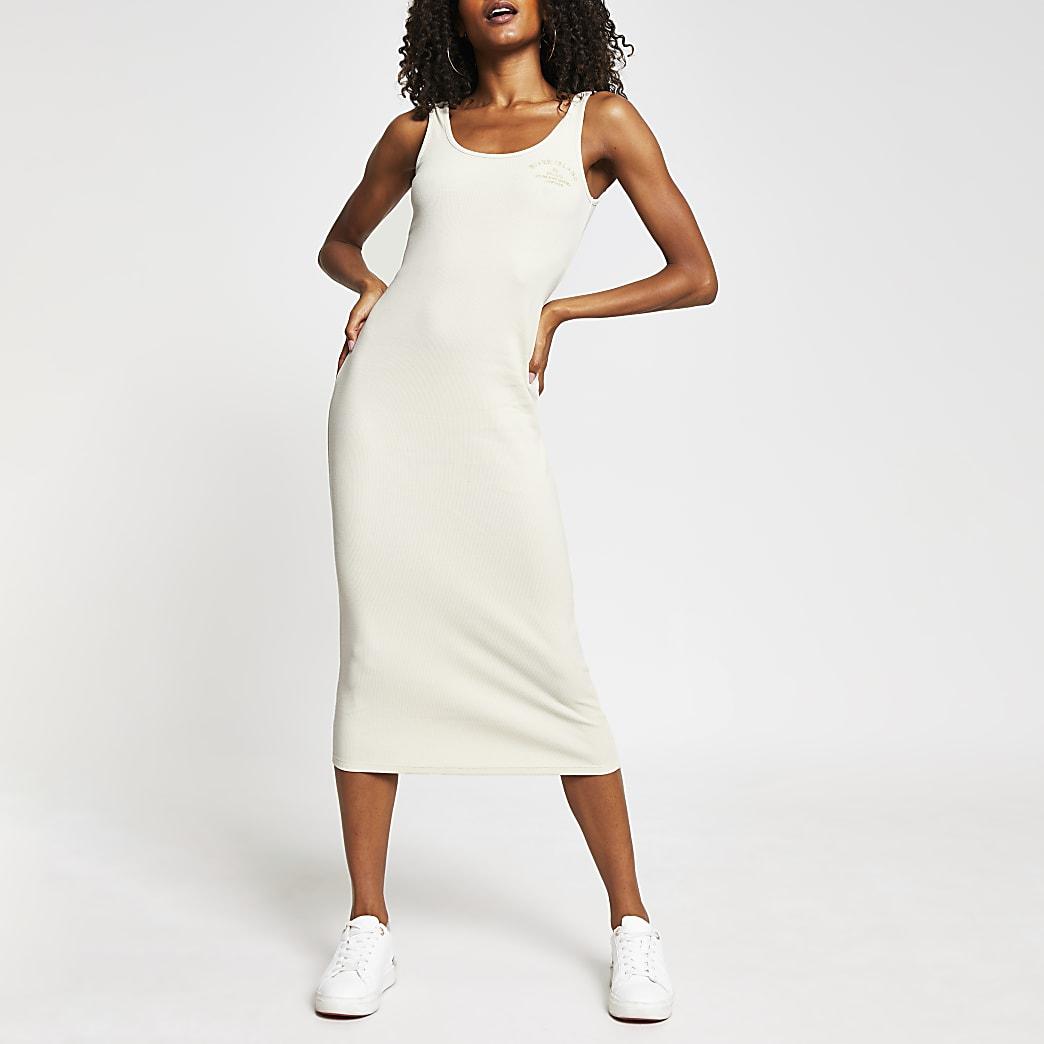 Beige square neck column dress