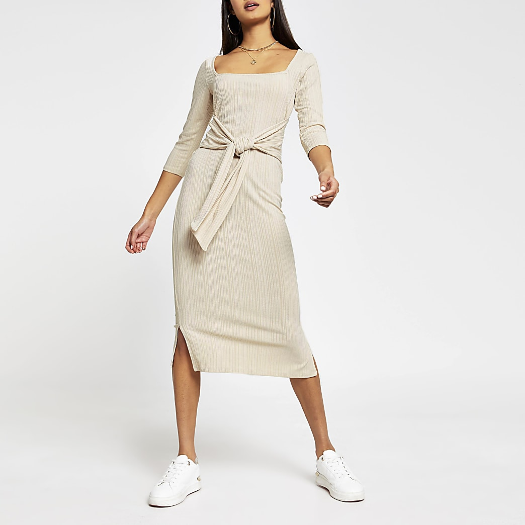Beige square neck knot waist dress