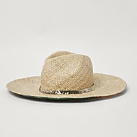 Beige straw palm print sun hat