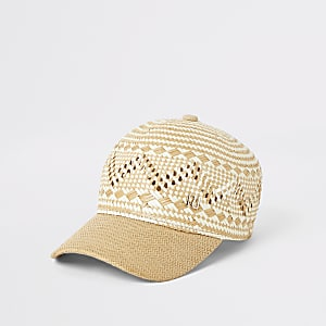 Beige straw raffia hat