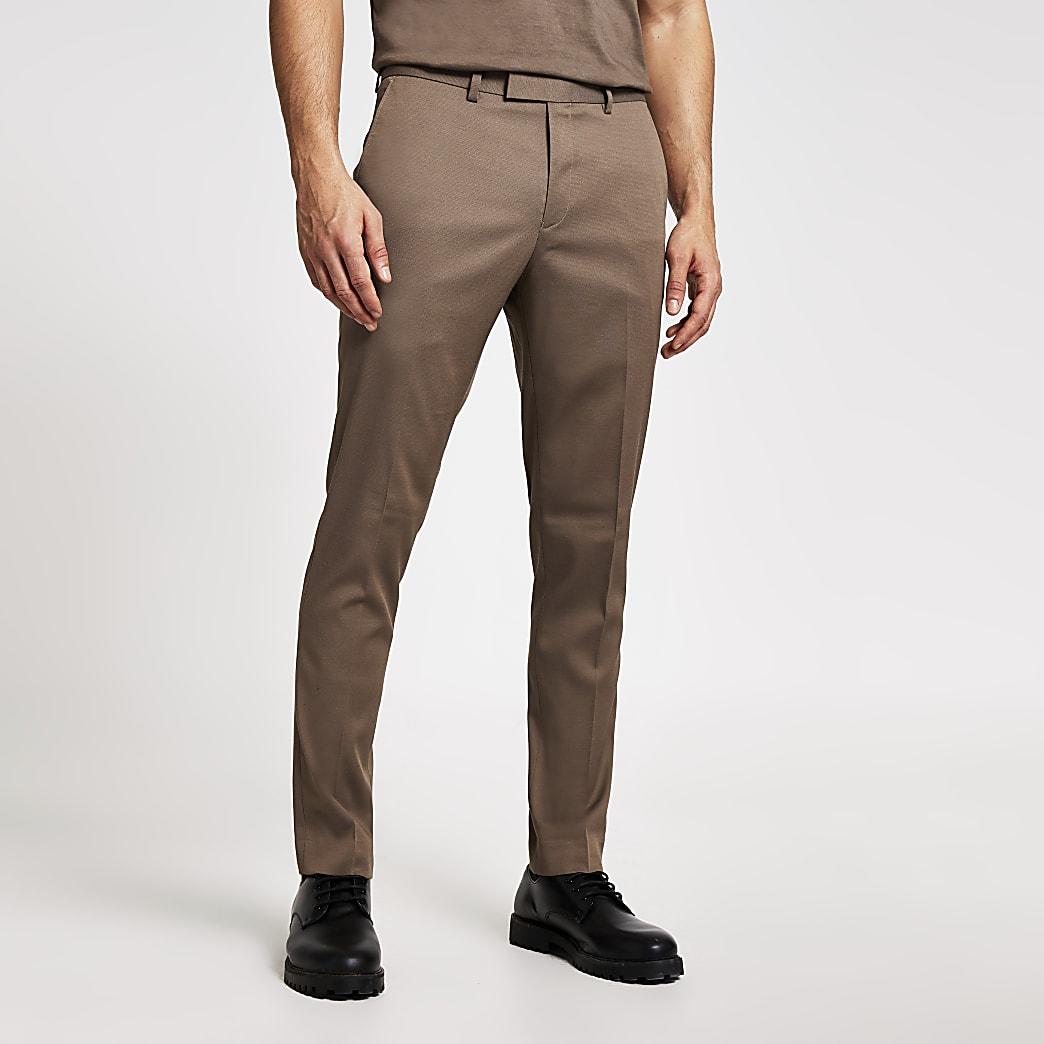 Elastische Skinny Anzugshose in Beige