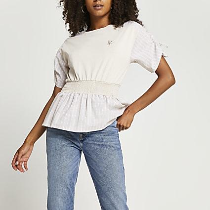 Beige stripe print shirred waist top