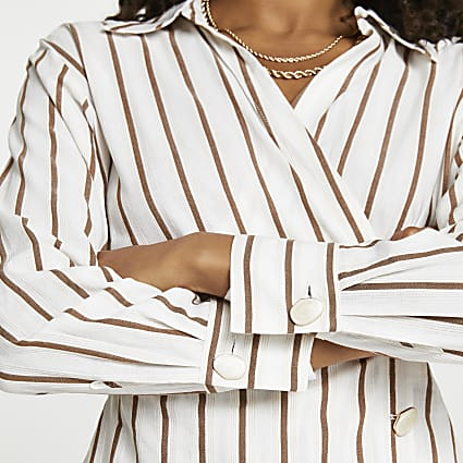 Beige stripe side tuck long sleeve shirt