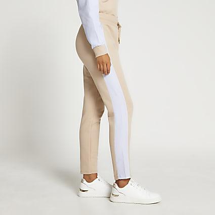 Beige stripe straight leg joggers