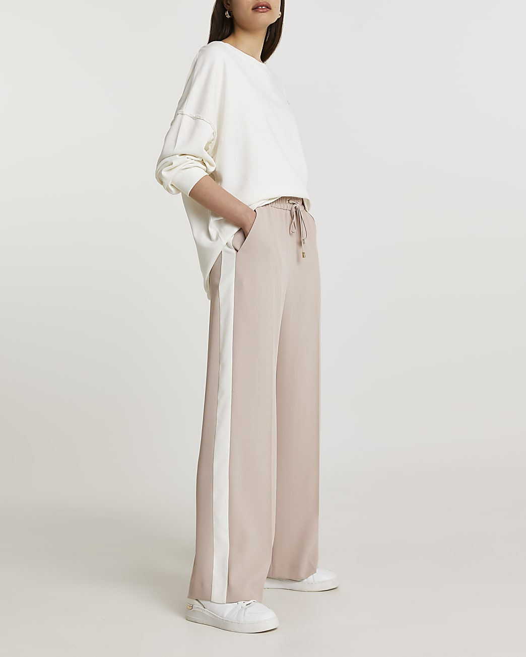 Beige stripe wide leg trousers