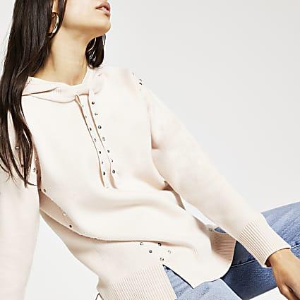 Beige stud detail knitted hoodie