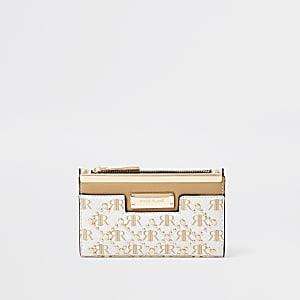 Beige stud foldout purse