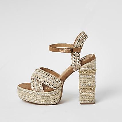 Beige studded espadrille platform sandals