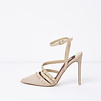 Beige studded pointed toe strappy court shoes