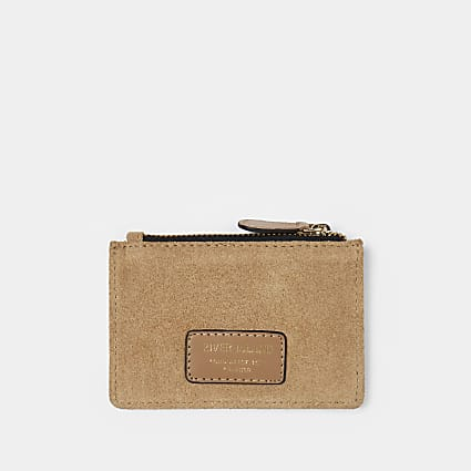 Beige suede card holder
