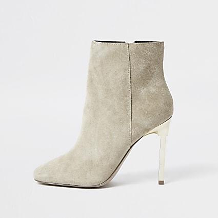 Beige suede skinny heel ankle boots