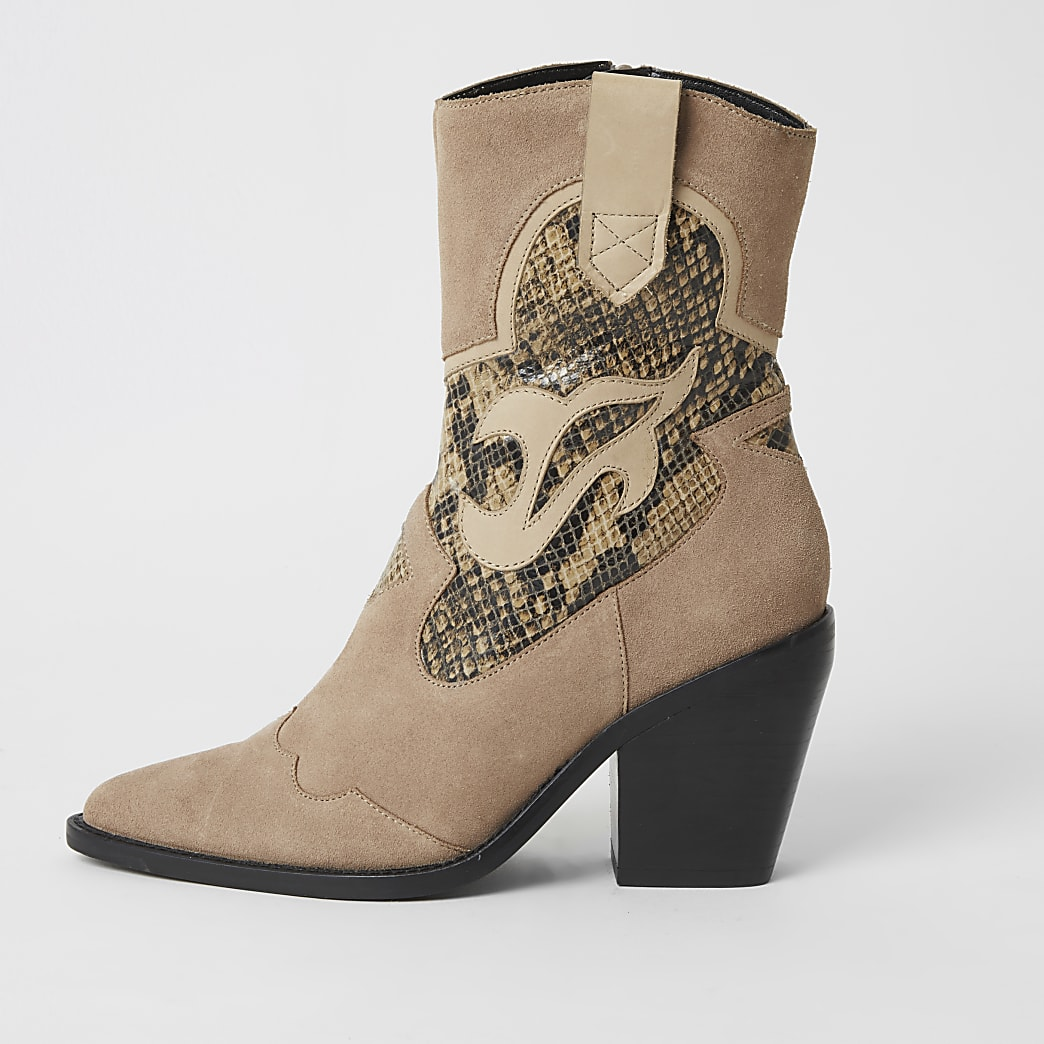 Beige suede snake print cut out cowboy boots