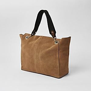 Beige, leicht ausgestellte Shopper-Tote Bag aus Wildleder