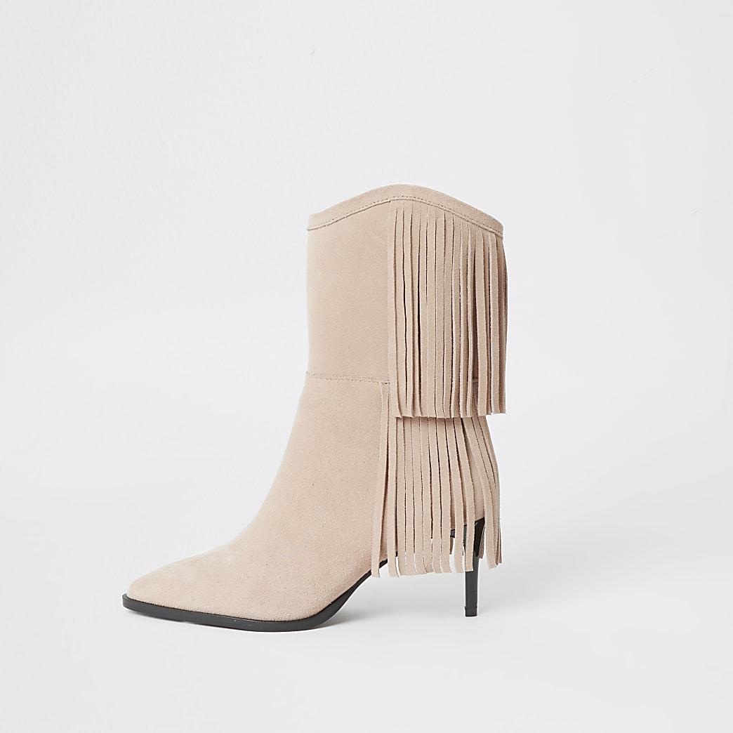 Beige suede tassel mid heeled boots