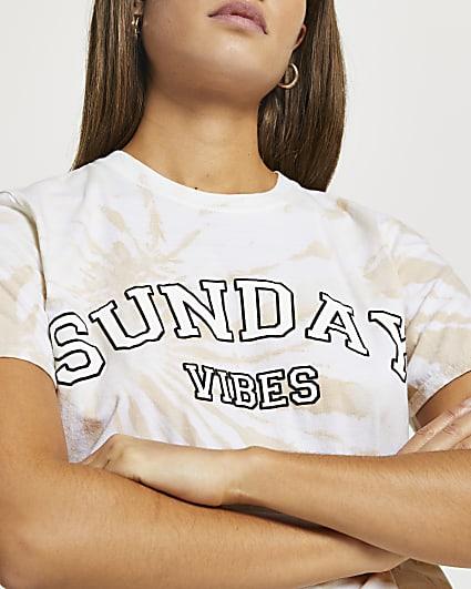 Beige 'Sunday Vibes' tie dye t-shirt