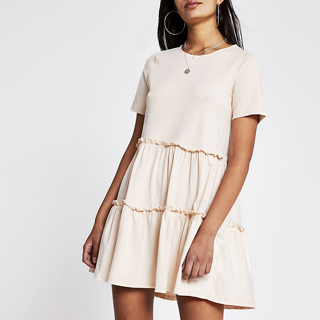 Beige T shirt Tiered Smock Dress