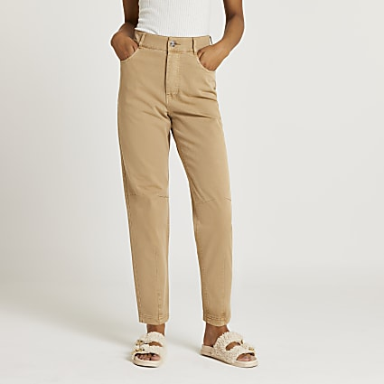 Beige tapered twill trousers