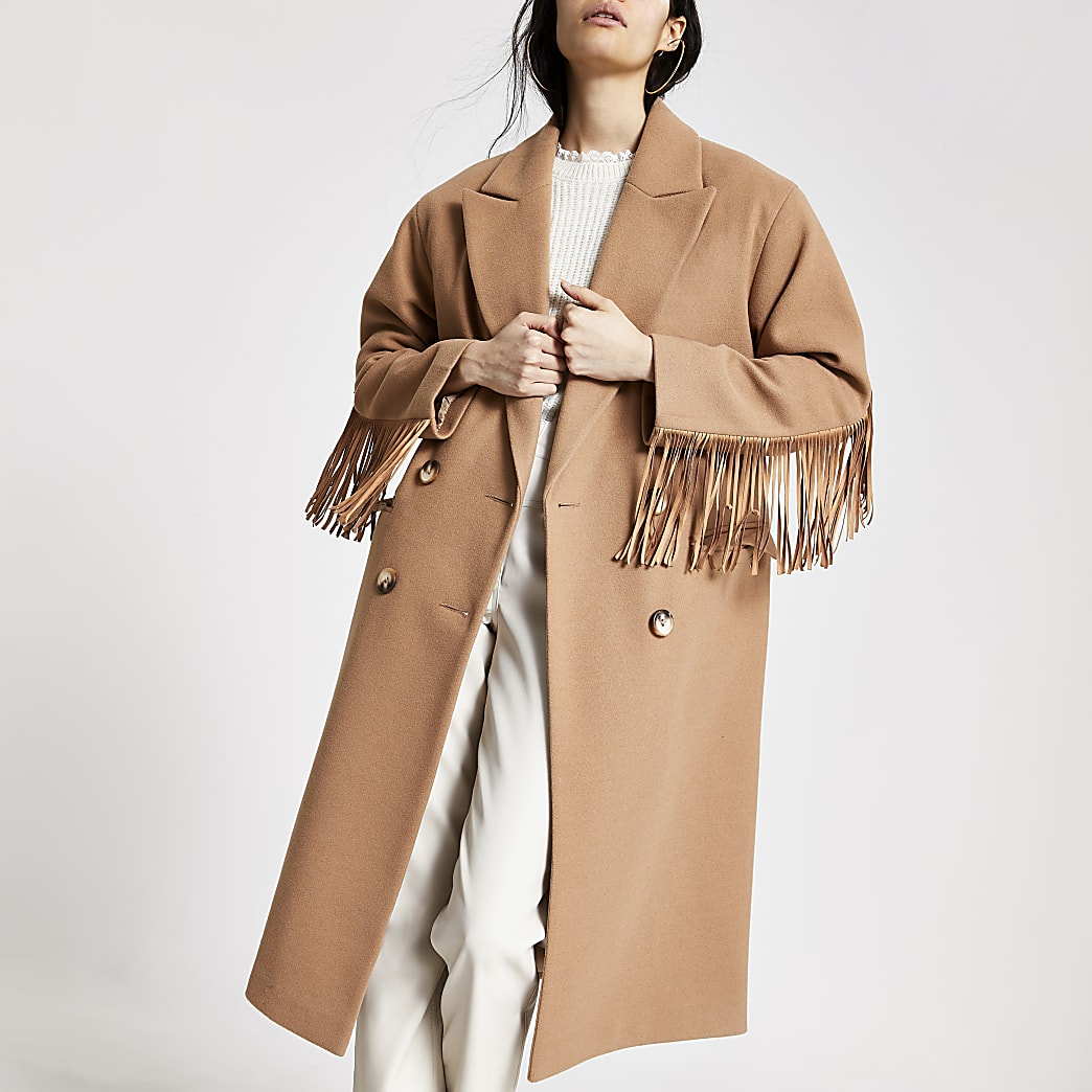 Beige tassel fringe longline coat