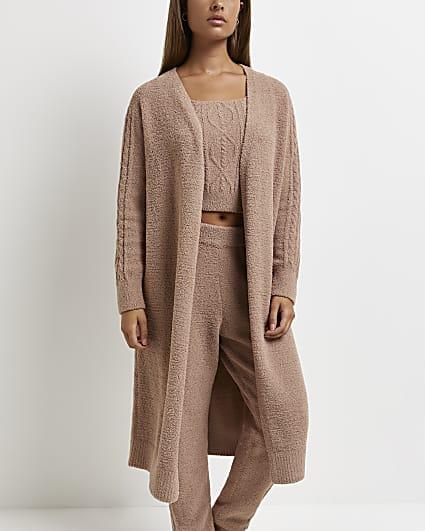 Beige teddy cable knit longline cardigan
