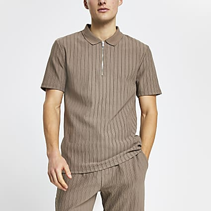 Beige textured ribbed slim fit polo