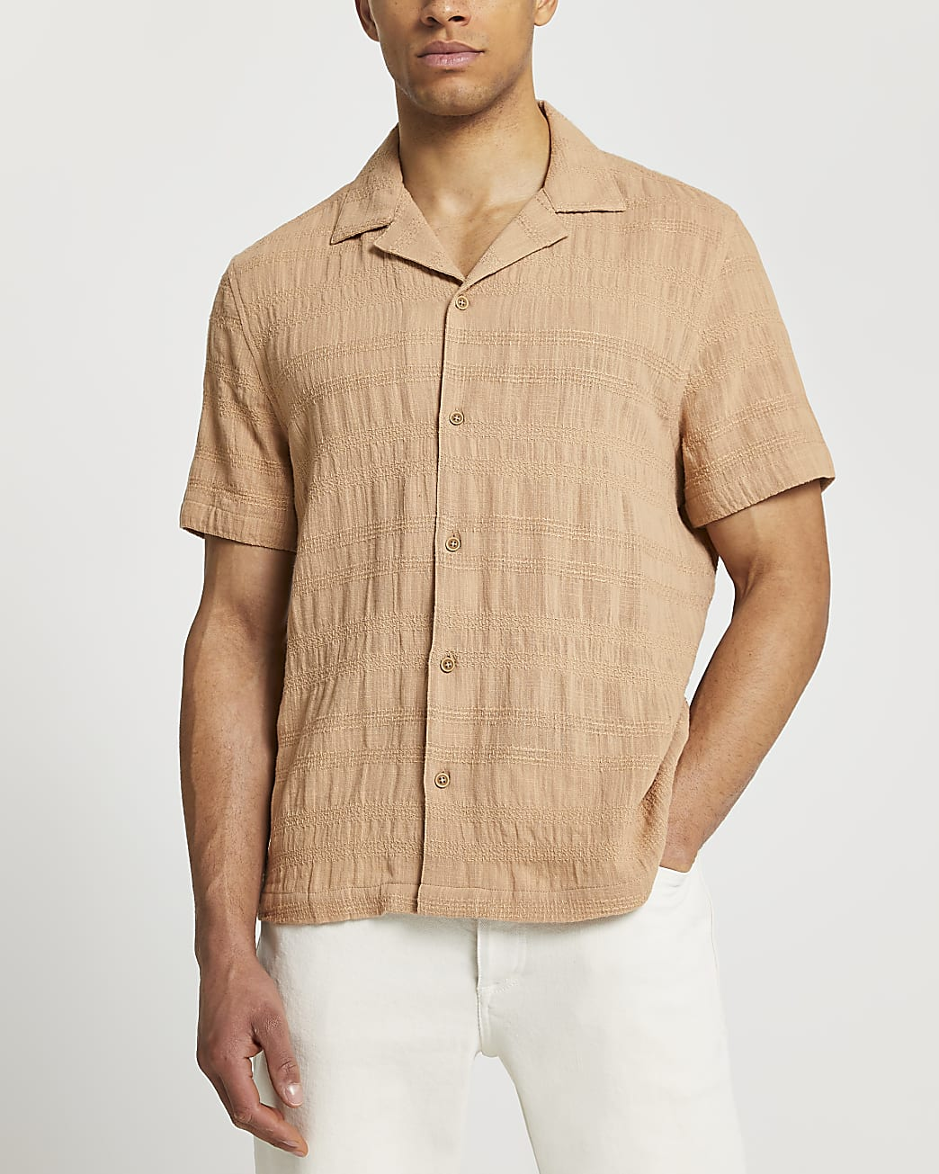 Beige textured short sleeve revere shirt