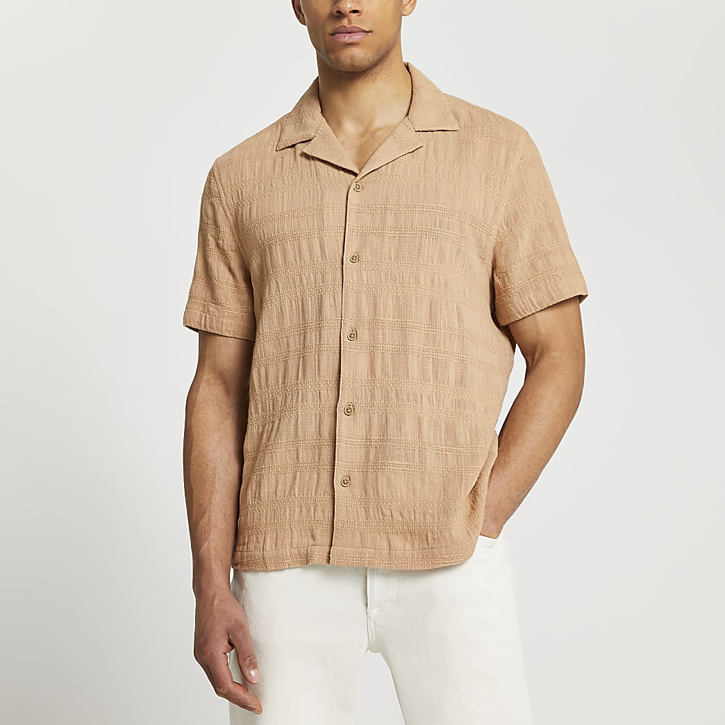 Beige textured short sleeve revere shirt
