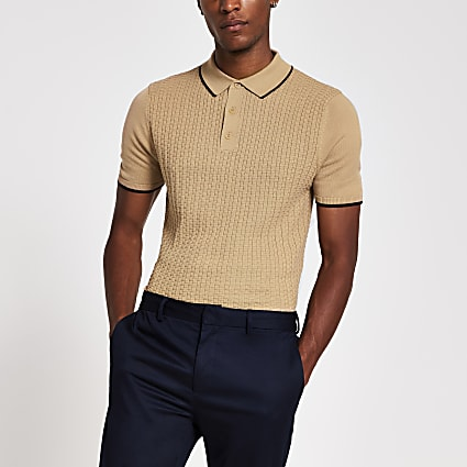Beige textured slim fit polo shirt