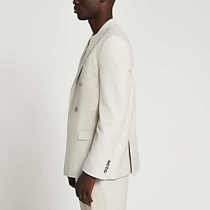 Beige textured slim fit suit jacket