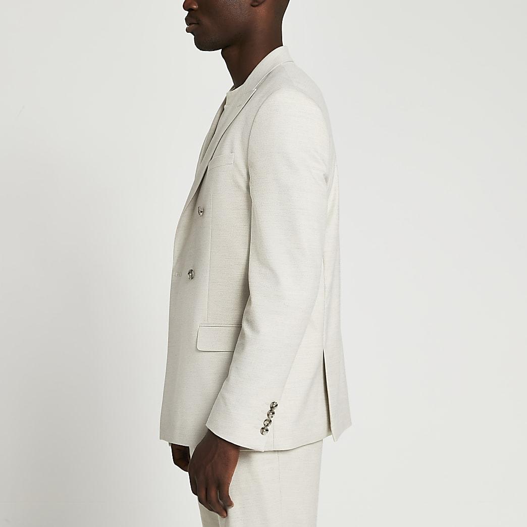 Beige textured slim fit suit jacket