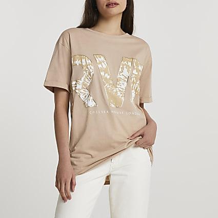 Beige tie dye boyfriend t-shirt