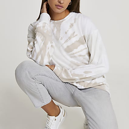 Beige tie dye long sleeve sweatshirt
